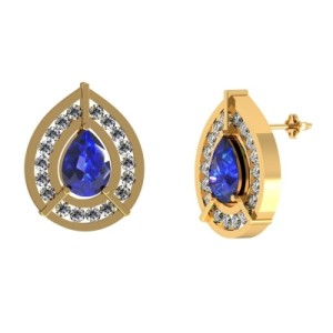 14k Yellow Gold Tanzanite Earring