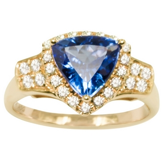 Trillion Tanzanite Ring Yellow Gold