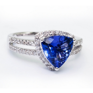 Trillion Tanzanite Ring in White Gold