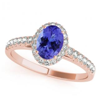 0.68 Carat Oval Tanzanite Engagement Ring in 14k Rose Gold