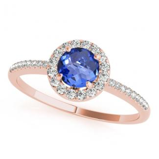 0.78 Carat Round Tanzanite Promise Ring in 14k Rose Gold