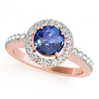 0.78 Carat Round Tanzanite Wedding Ring in 14k Rose Gold