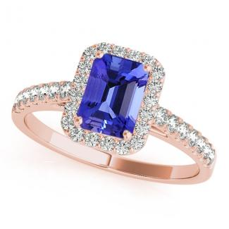 0.80 Carat Emerald Cut Tanzanite Engagement Ring in 14k Rose Gold