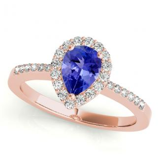 1.70 Carat Pear Tanzanite Wedding Ring in 14k Rose Gold