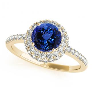 .78 Carat Round Shape Tanzanite Ring With .52 ctw Diamonds in 14k Yellow Gold in D Grade