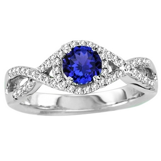 Round Tanzanite Ring With Diamonds