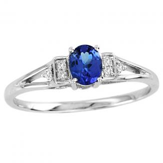 .22 Carat Oval Shape Tanzanite Ring With .02 ctw Diamonds in 14k White Gold in D Grade