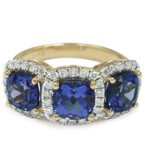 cushion-shape-tanzanite-ring