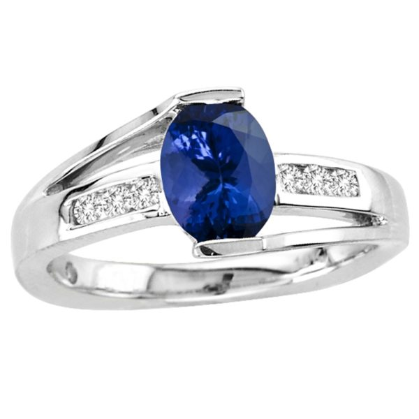 1.05 Carat Oval Shape Tanzanite Ring With .13ctw Diamonds in 14k White Gold in D Grade