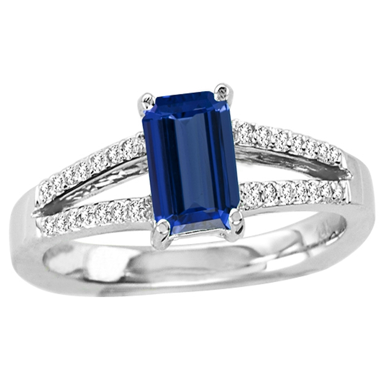 accents tanzanite double cut with ring cubic prong p white gold emerald in zirconia