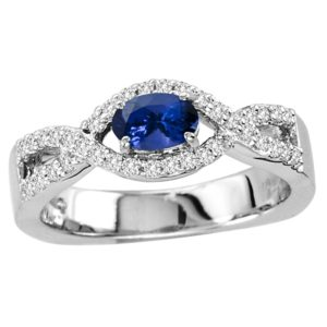 .40 Carat Oval Shape Tanzanite Ring With .24 ctw Diamonds in 14k White Gold in D Grade