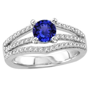 .78 Carat Round Shape Tanzanite Ring With .42 ctw Diamonds in 14k White Gold in D Grade
