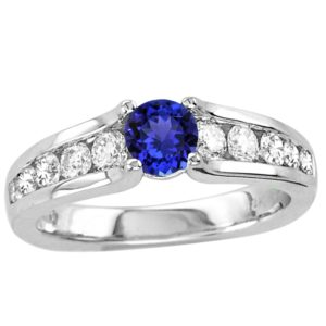 .45 Carat Round Shape Tanzanite Ring With .58 ctw Diamonds in 14k White Gold in D Grade