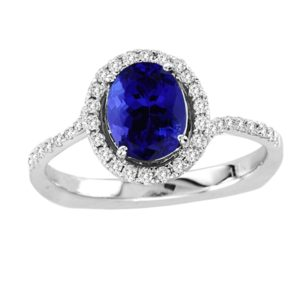 1.15 Carat Oval Shape Tanzanite Ring With .31 ctw Diamonds in 14k White Gold in D Grade