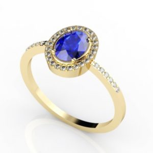 .65 Carat Oval Shape Tanzanite Ring With .18 ctw Diamonds in 14k Yellow Gold in SD Grade
