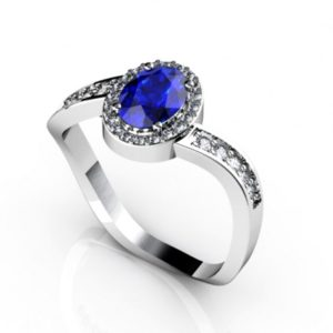 .65 Carat Oval Shape Tanzanite Ring With .22 ctw Diamonds in 14k White Gold in D Grade