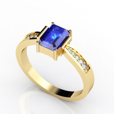 three views four diamonds platinum cut tanz and assch stone other emerald product tanzanite ring claw asscher with