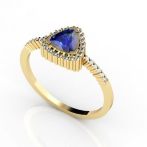 .66 Carat Trillion Shape  Tanzanite Ring With .17 ctw Diamonds in 14k Yellow Gold in D Grade