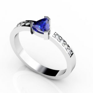 .35 Carat Trillion Shape  Tanzanite Ring With .06 ctw Diamonds in 14k White Gold in D Grade