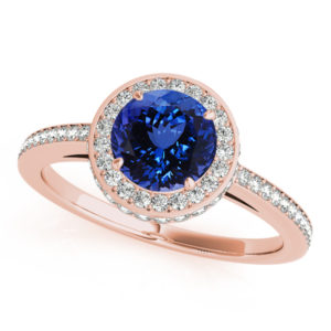 .78 Carat Round Shape Tanzanite Ring With .475 ctw Diamonds in 14k Rose Gold in D Grade