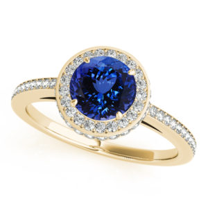 .78 Carat Round Shape Tanzanite Ring With .475 ctw Diamonds in 14k Yellow Gold in D Grade