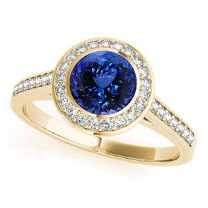 .78 Carat Round Shape Tanzanite Ring With .264 ctw Diamonds in 14k Yellow Gold in D Grade