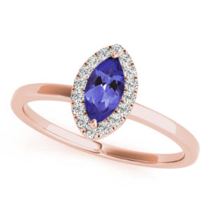 .32 Carat Marquise Shape Tanzanite Ring With .144 ctw Diamonds in 14k Rose gold in D Grade