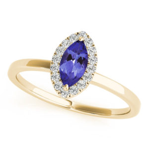 .32 Carat Marquise Shape Tanzanite Ring With .144 ctw Diamonds in 14k Yellow Gold in D Grade