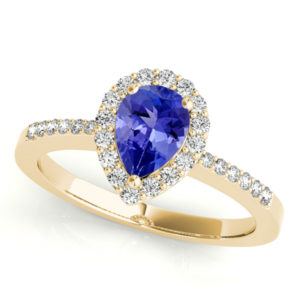 1.7 Carat Pear Shape Tanzanite Ring With .224 ctw Diamonds in 14k Yellow Gold in D Grade