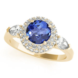 .78 Carat Round Shape Tanzanite Ring With .4 ctw Diamonds in 14k Yellow Gold in D Grade